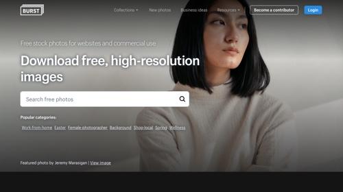 Page d'accueil: Shopify Burst