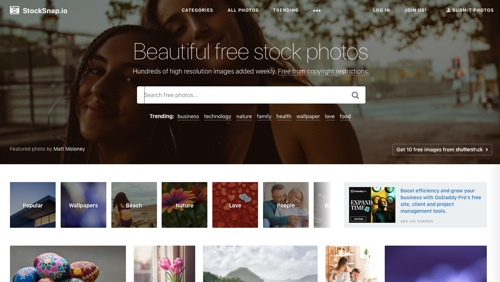 Page d'accueil de StockSnap