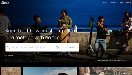 Page d'accueil de Stocksy