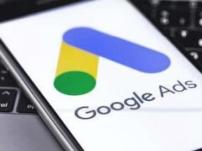 Image of a smartphone with Google Ads logo on the screen