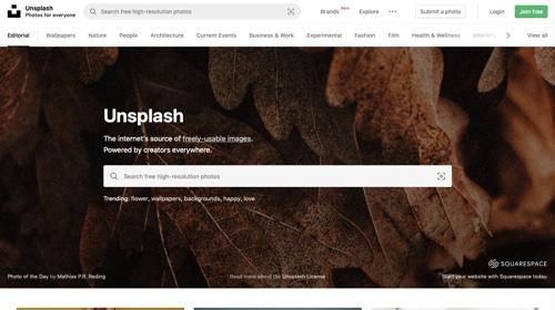 Page d'accueil d'Unsplash