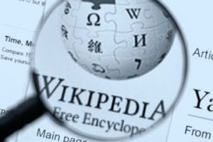 Screenshot of Wikipedia logo on a web page