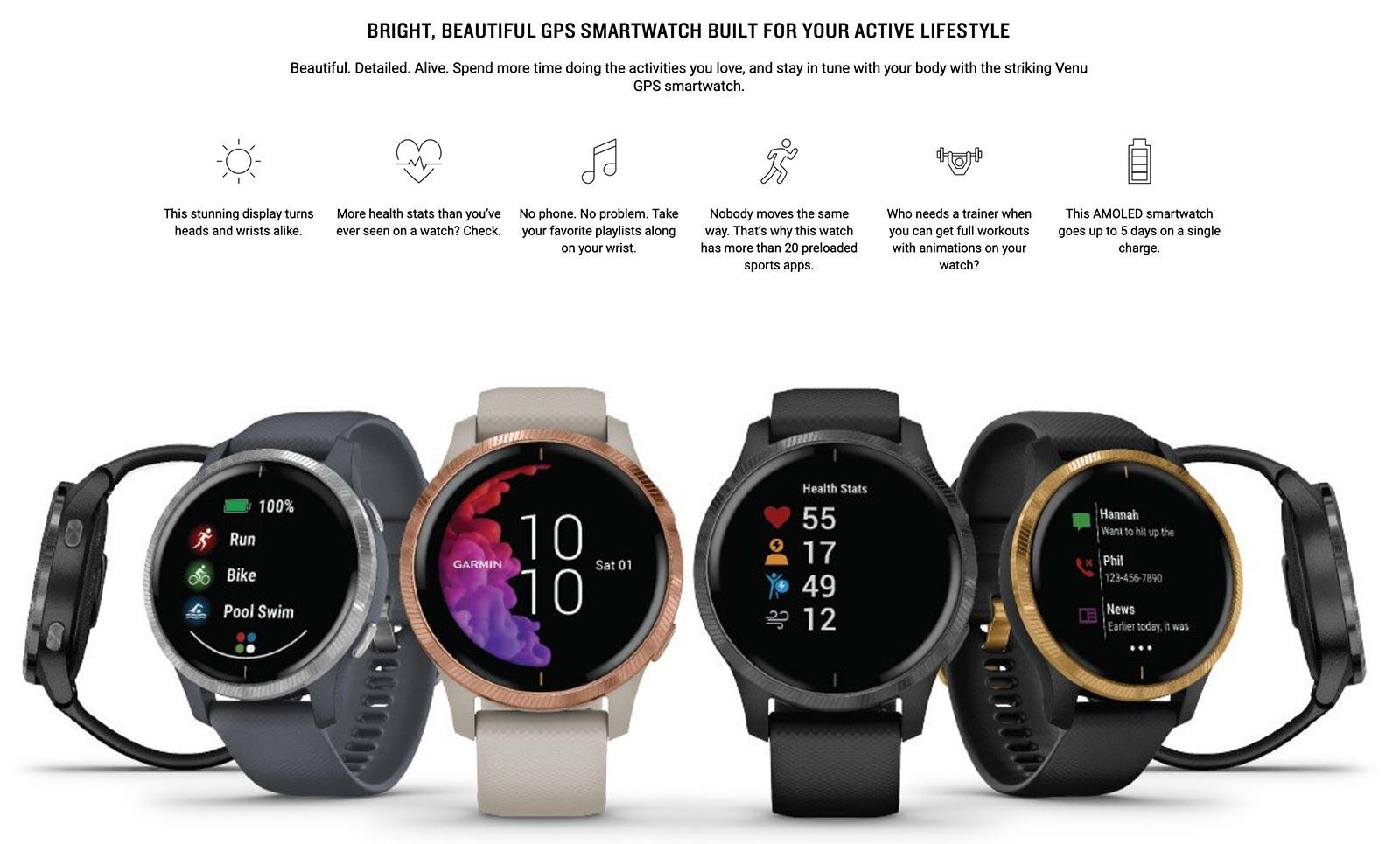 Page de base de Garmin avec la montre Venu