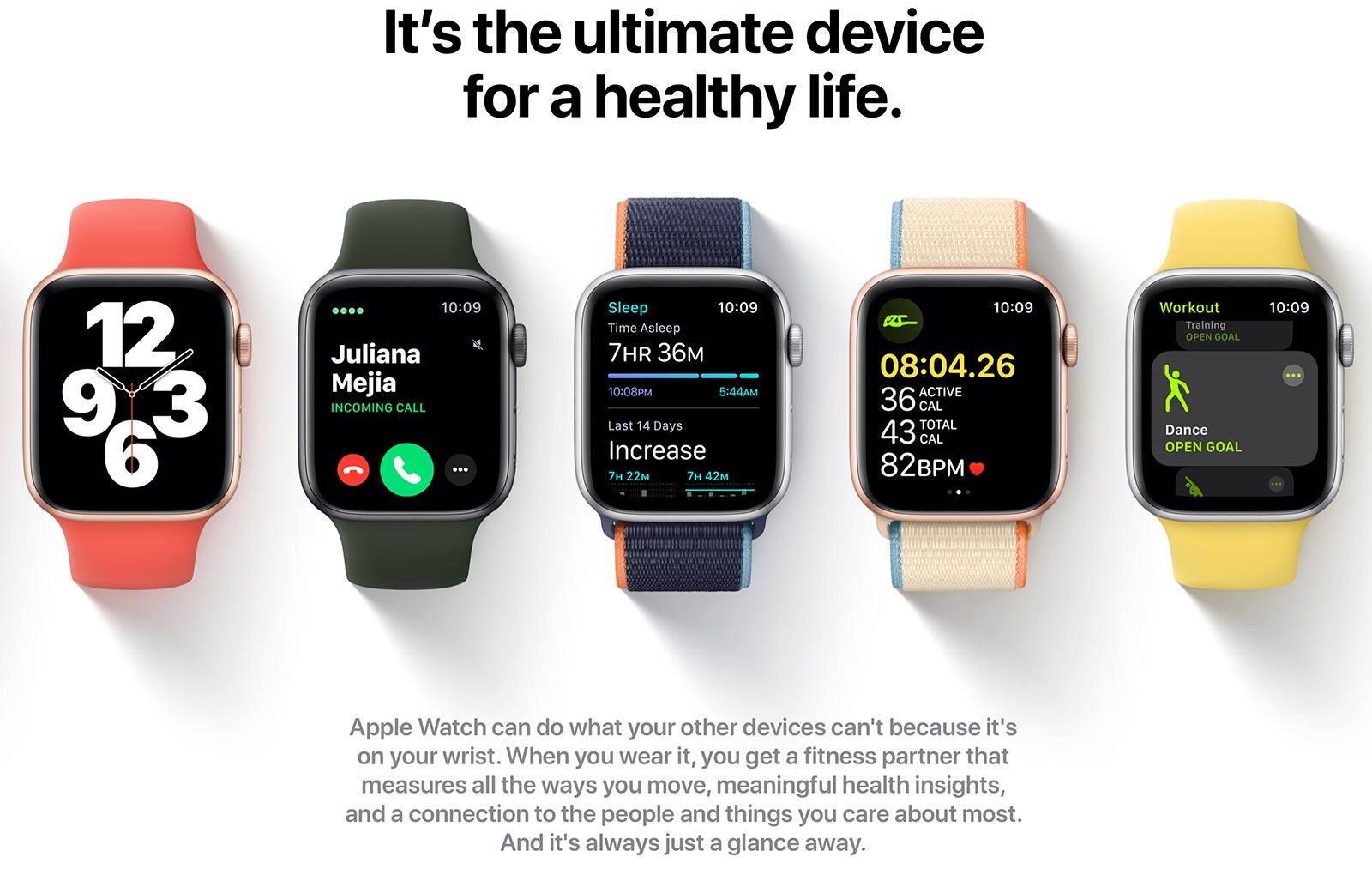 Page produit Apple Watch, avec le titre: C'est l'appareil ultime pour une vie saine.