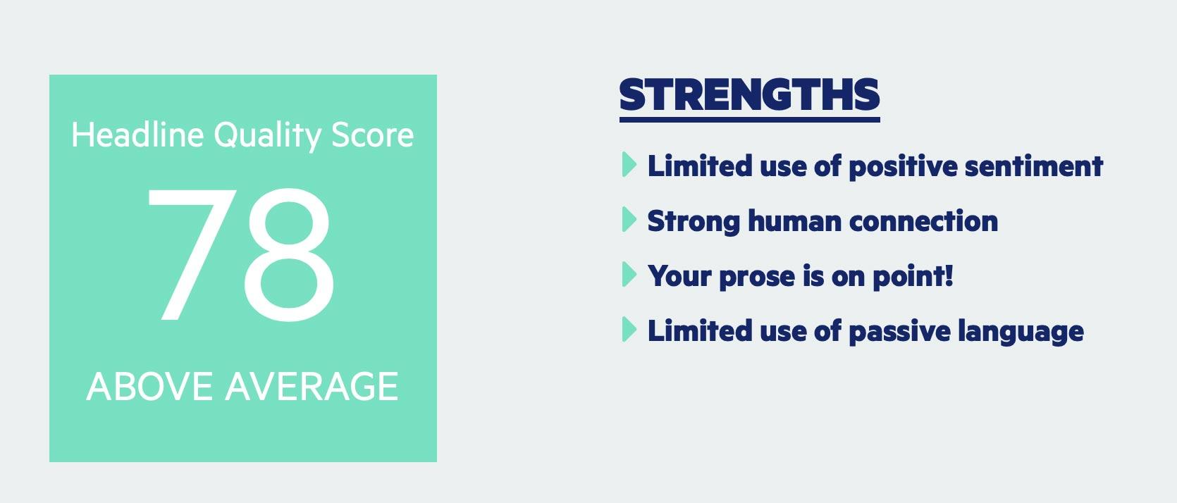 Exemple de rapport d'analyseur de titres - il donne le score et des suggestions