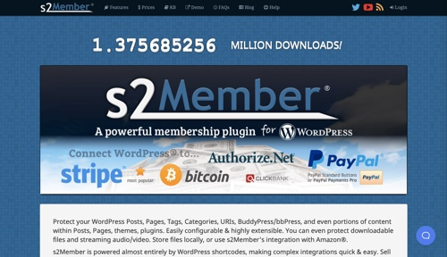 Home page of s2Member