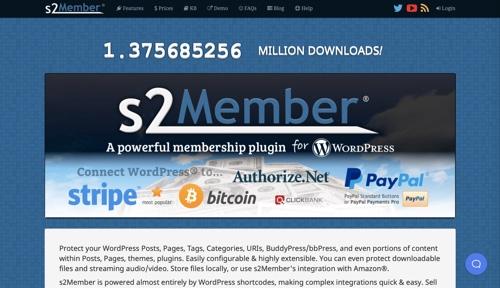 Page d'accueil de s2Member