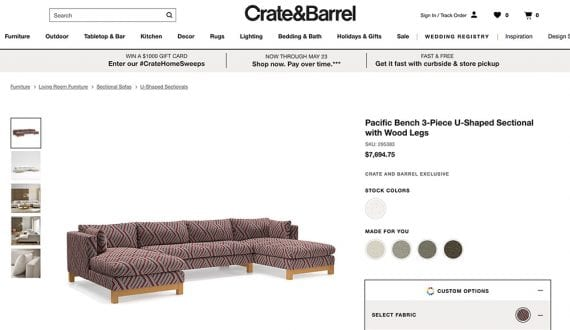 Screenshot from Crate & Barrel's website of a sectional couch product configurator.
