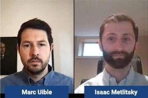 Screenshot of a video with Marc Uible and Isaac Metlitsky