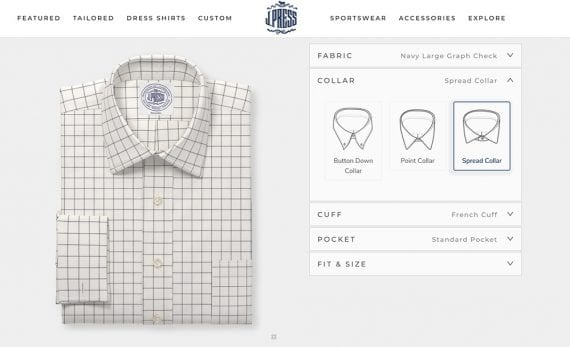 Screenshot from J.Press's website showing a custom shirt configurator.