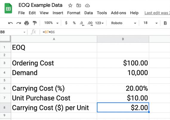 Capture d'écran d'une feuille Google indiquant le coût de commande de 100 USD, 10 000 unités de demande et le coût de possession par unité.