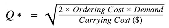 Image montrant la formule EOQ.