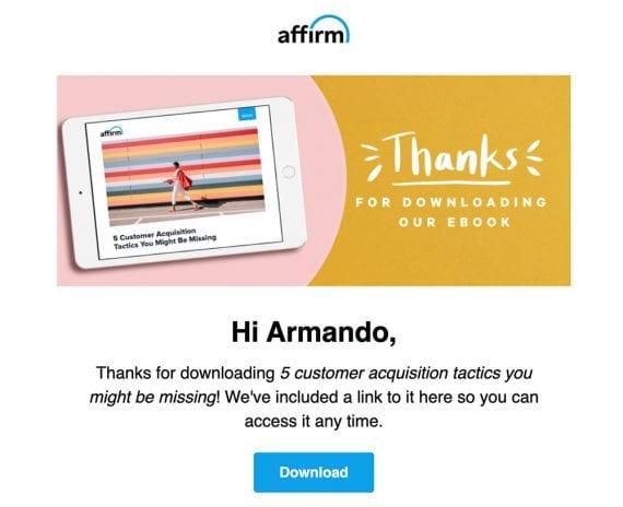 Capture d'écran de l'e-mail de suivi, après que l'auteur ait téléchargé l'ebook.