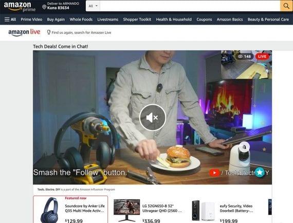 Capture d'écran d'un événement Amazon Live.