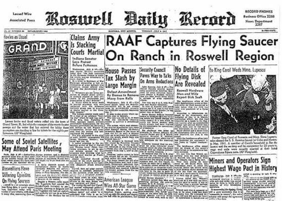 La première page du Roswell Daily Herald quelques jours après la découverte de l'accident.