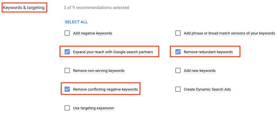 "Screenshot of Google Ads interface to auto-apply ""Keywords & targeting"" options"