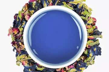 Screenshot from TeaLeaves website showing a tea that has turned blue