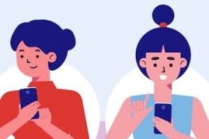 Screenshot of Pinduoduo's video showing an illustration of two women shopping on a phone