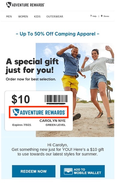 """Screenshot from a mobile phone of an """"Adventure Rewards"""" email from Eddie Bauer."""
