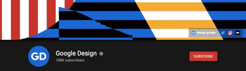 YouTube channel page of Google Design