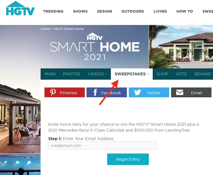 Screenshot of the HGTV sweepstakes web page.