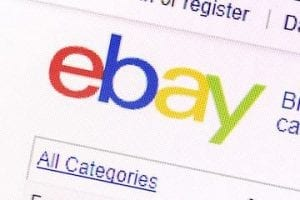Screenshot of the eBay logo on the eBay home page