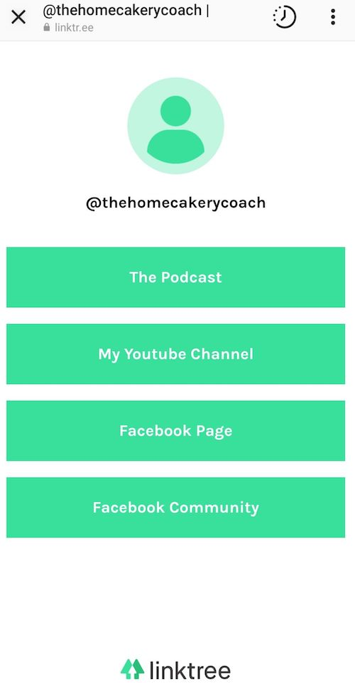 """Screenshot of the """"linktr.ee/thehomecakerycoach"""" page."""