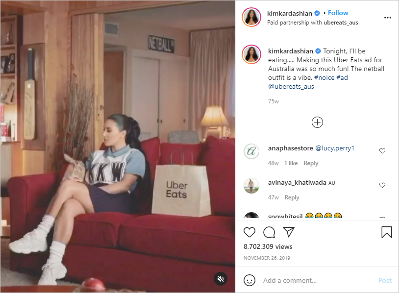 Kim Kardashian promoting Uber Eats on Instagram.