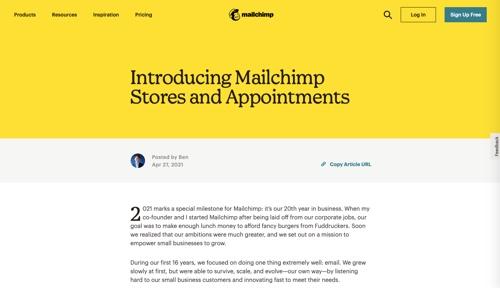 Capture d'écran de la page du blog Mailchimp