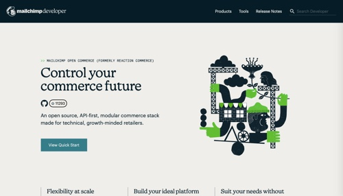 Home page of Mailchimp Open Commerce