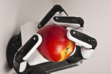 Image of a soft-hand robot holding a fresh apple