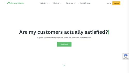 Page d'accueil de SurveyMonkey