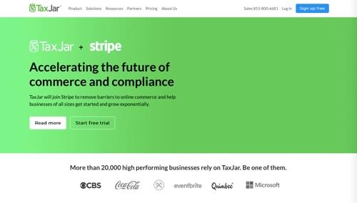 Page d'accueil de TaxJar, annonçant l'acquisition par Stripe