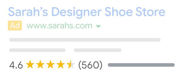 Example from Google as seller-rating stars in a regular text ad.