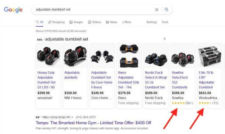 "Screenshot of Google search results for ""adjustable dumbbell set."""