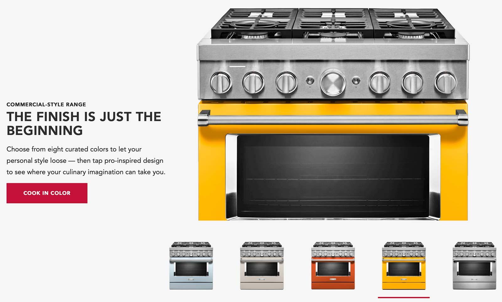 KitchenAid's trending colors, as seen on its major appliances.