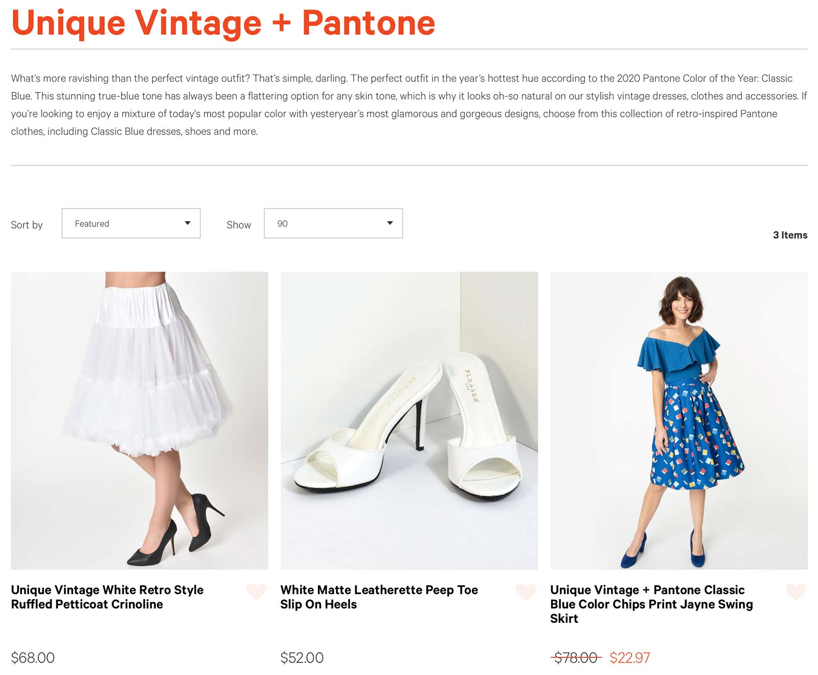 Unique Vintage store's showcase of Pantone-inspired apparel