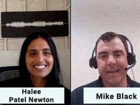 Screenshot of video showing Halee Patel Netwon and Mike Black