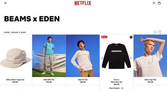 Screenshot of Netflix's merchandise store home page