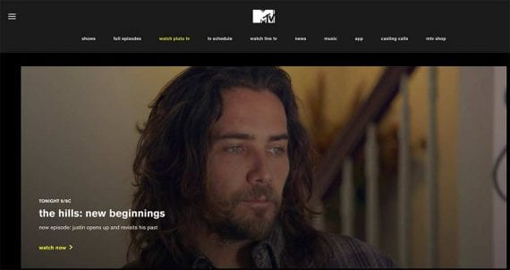 Screenshot from MTV of a performer with a beard