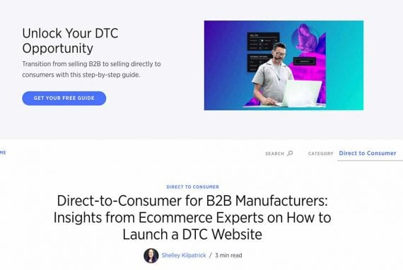 Screenshot of BigCommerce's DTC opportunity web page
