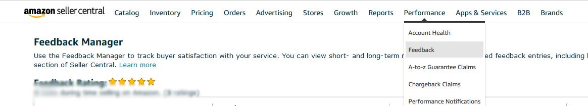 Capture d'écran d'Amazon Seller Central affichant les évaluations détaillées des vendeurs.