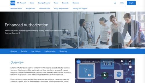 Page d'accueil d'American Express affichant le service d'autorisation améliorée