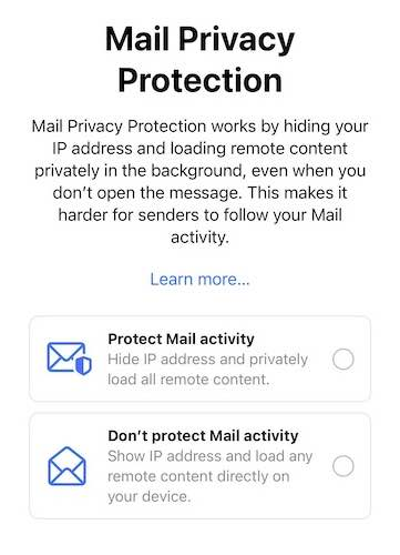 """Screenshot from a smartphone of iOS 15's """"Mail Privacy Protection"""" opt-in page."""