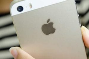 Photo of the back of an iPhone showing the Apple logo
