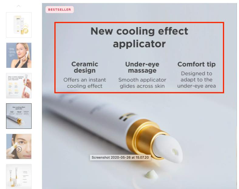 Product page screenshot for ISDIN eye cream