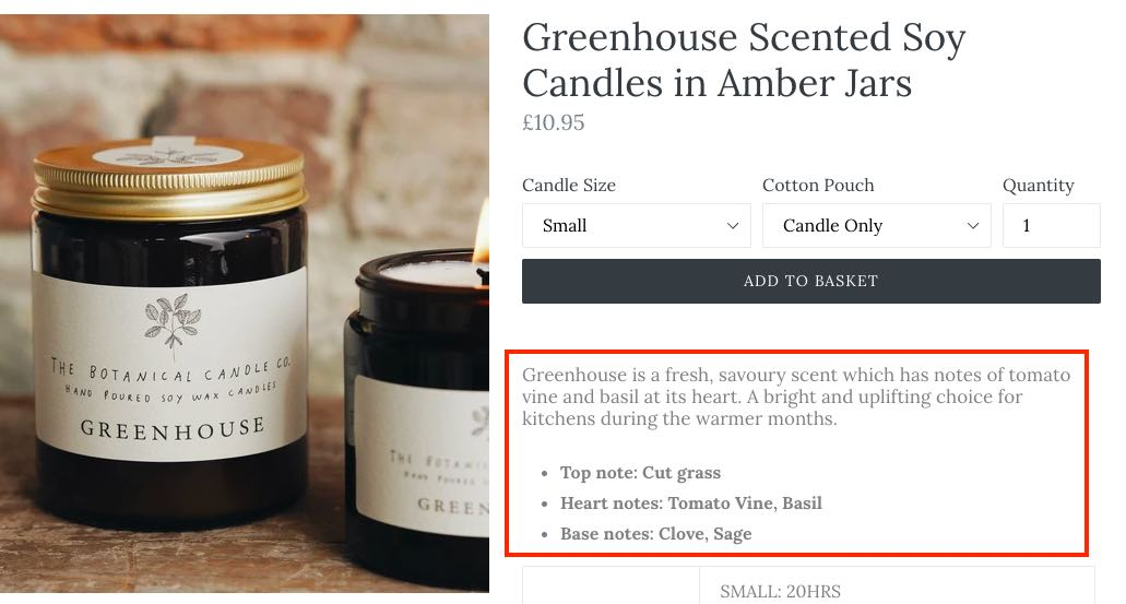 Screenshot of product page for Greenhouse-Scented Candle