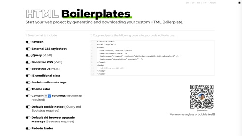 Home page of HTML Boilerplates
