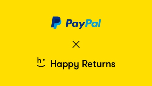 """Screenshot of a Happy Returns web page, stating """"PayPal x Happy Returns."""""""