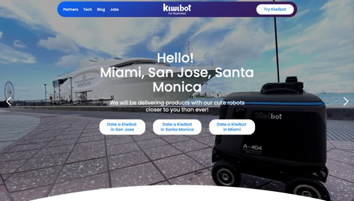 Home page of Kiwibot